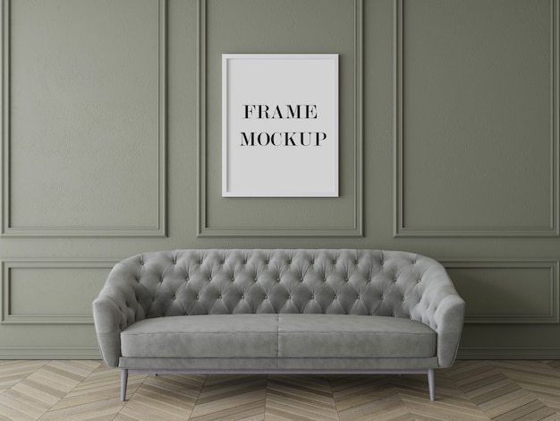 Luxury living room frame mockup with furniture Premium Psd