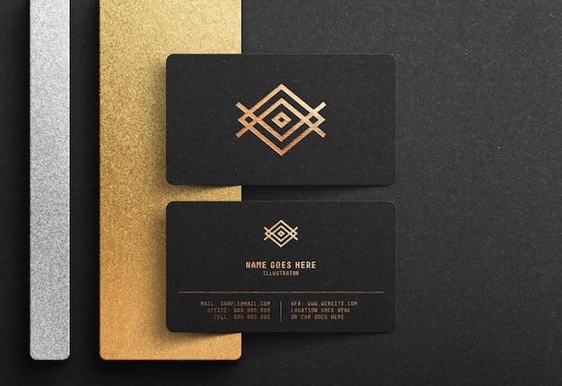 검은 명함에 럭셔리 로고 이랑 프리미엄 PSD 파일