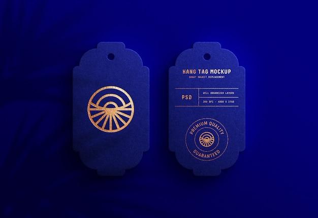 로얄 블루 걸림 새 태그에 럭셔리 로고 이랑 프리미엄 PSD 파일