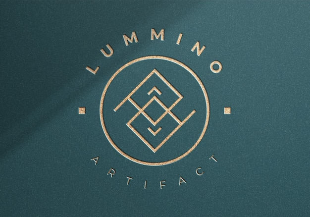 Luxury logo mockup on textured background from top view
