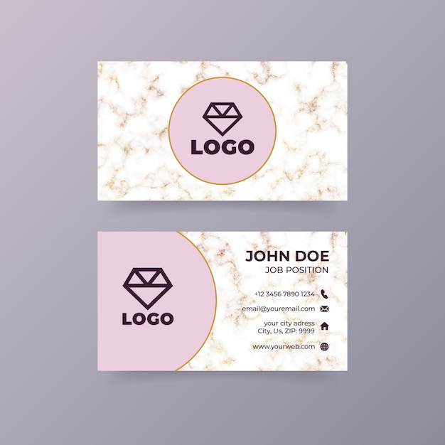 Luxury pink business card template with marble texture Free Psd