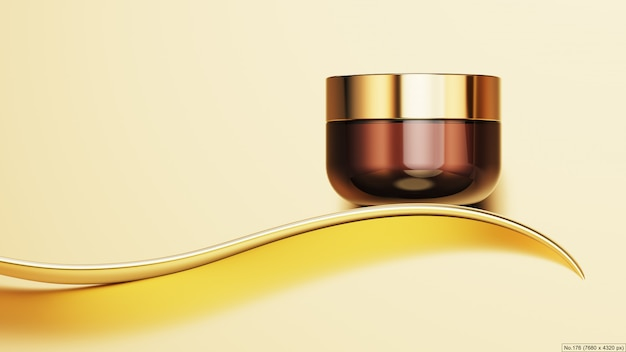 Luxury product with gold ribbon. 3d render Premium Psd