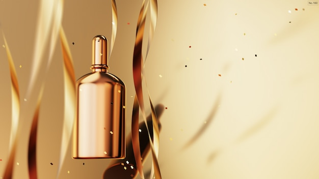 Luxury product with gold ribbon on gold background. Premium Psd