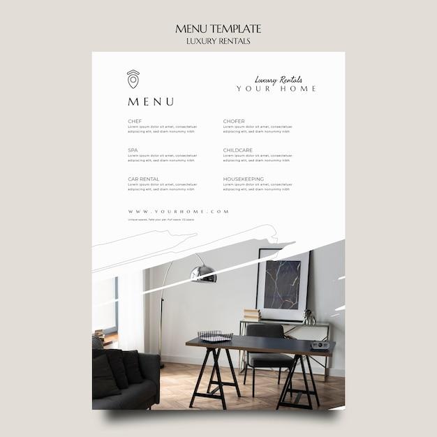 Luxury rental menu template Premium Psd