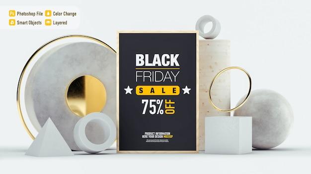 さまざまなオブジェクトが分離されたブラックフライデーの豪華な静物モックアップ Premium Psd