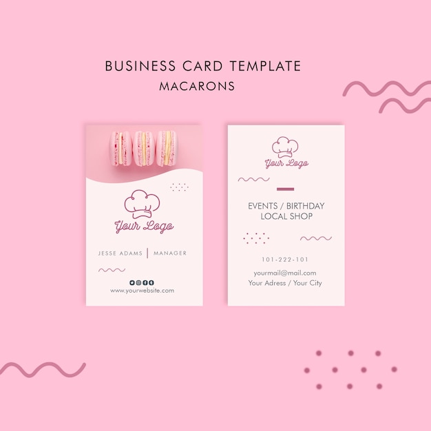 Macarons business card template concept Free Psd