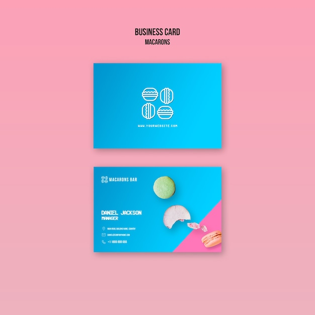 Macarons business card template design Free Psd