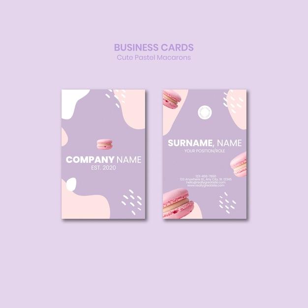 Macarons business cards template Free Psd