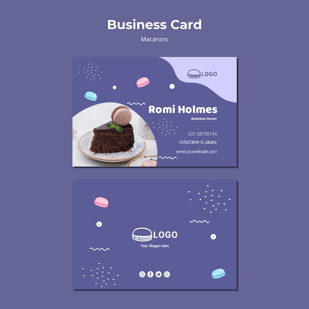 Macarons concept business card template Free Psd