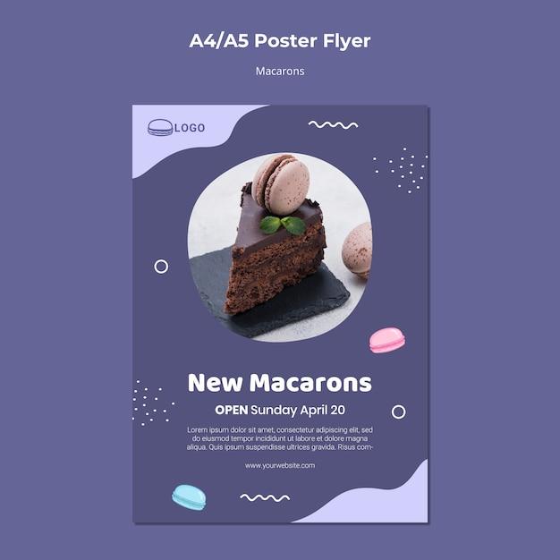 Modello del manifesto di concetto di macarons Psd Gratuite