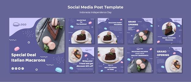 Социальные медиа концепция macarons опубликовать шаблон Premium Psd