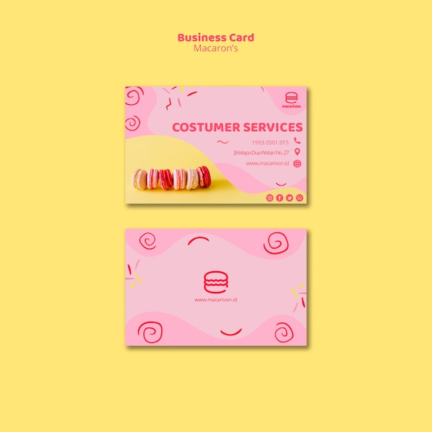 Macarons customer services business card Free Psd