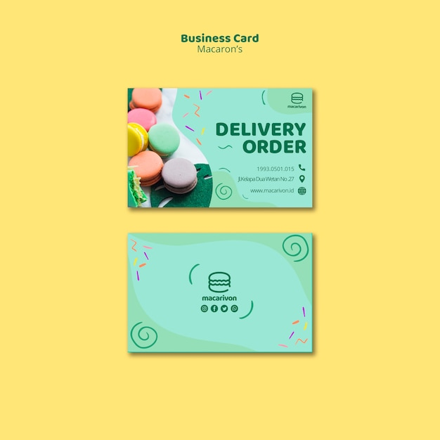 Macarons delivery order business card Free Psd
