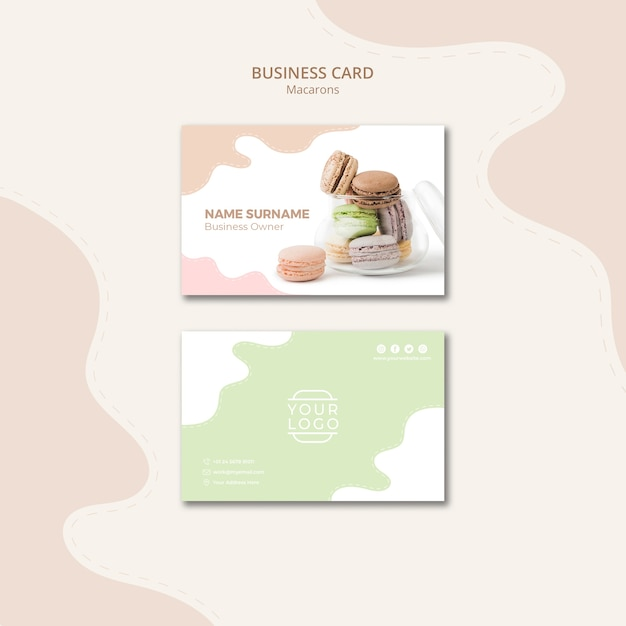 Macarons in a jar business card template Free Psd