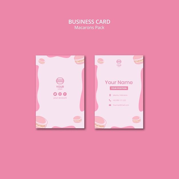 Macarons упаковывают визитки Бесплатные Psd