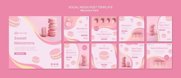 Macarons пакуют пост в социальных сетях Бесплатные Psd