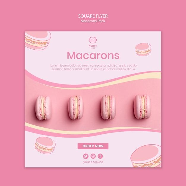 Macarons упаковывают квадратный дизайн флаера Бесплатные Psd