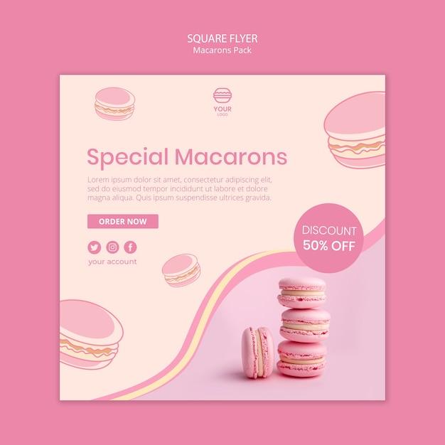Macarons упаковывают квадратный стиль флаера Бесплатные Psd
