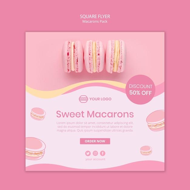 Macarons пакет квадратный флаер Бесплатные Psd