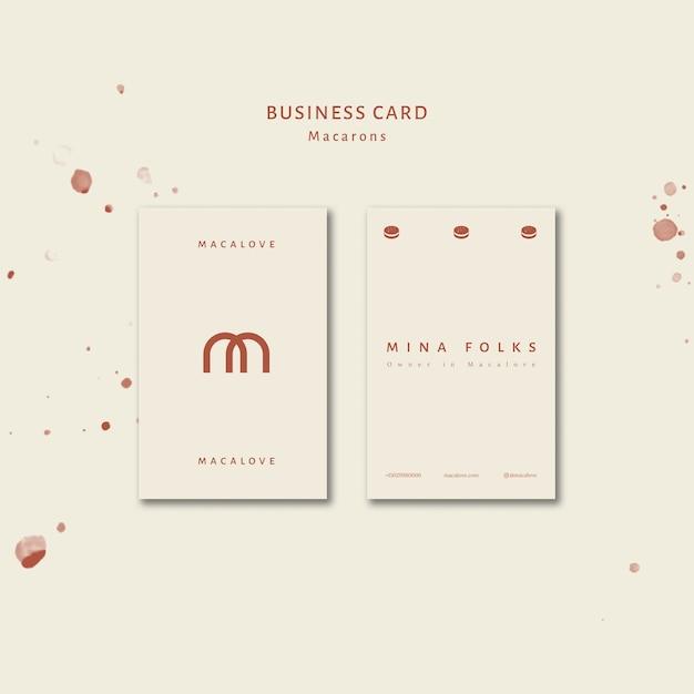 Macarons shop vertical business card template Free Psd