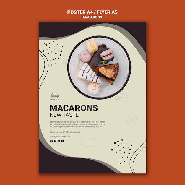 Вкусный дизайн флаеров macarons Бесплатные Psd