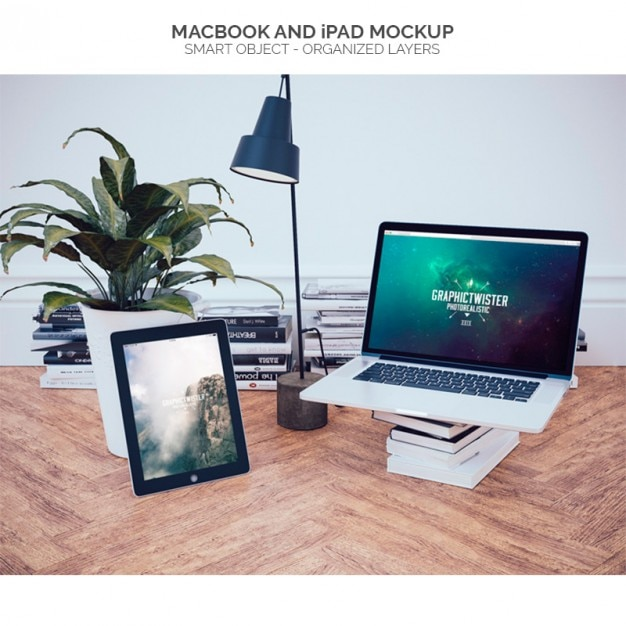 Macbook in an office mock up Free Psd