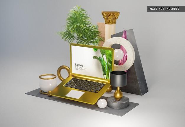 Macbook proの金粘土のモックアップ Premium Psd
