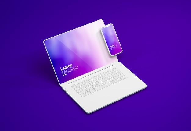 맥북 프로 노트북 및 스마트 폰 점토 모형 프리미엄 PSD 파일