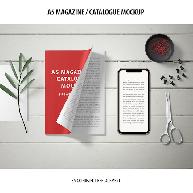 Magazine catalogue mockup Free Psd