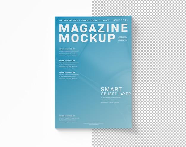 白いモックアップにカットされた雑誌の表紙 Premium Psd