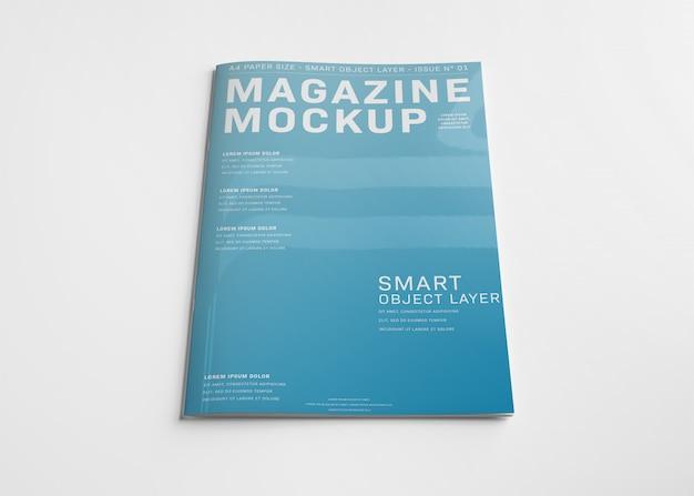 白のモックアップに分離された雑誌の表紙 Premium Psd
