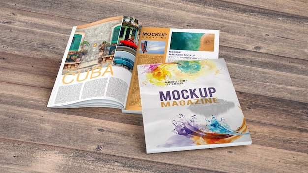 Magazine mockup on wooden table Free Psd