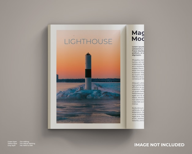 Magazines mockup that are opened and folded Premium Psd