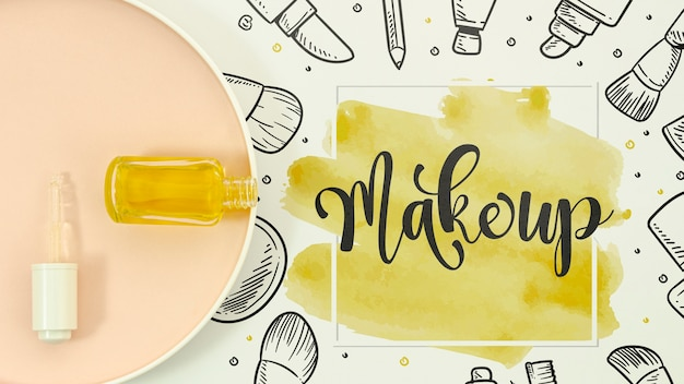 Make up background in  watercolor style Free Psd