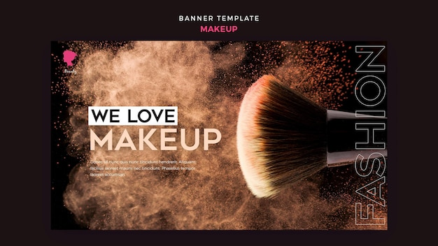 Make up banner template theme Free Psd