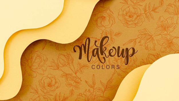 Make up colors background with flowers Free Psd