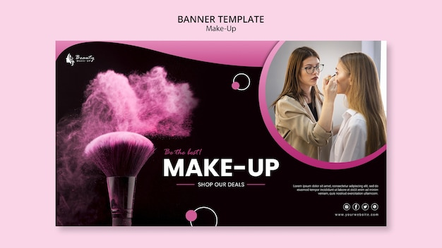 Make-up concept banner template Free Psd