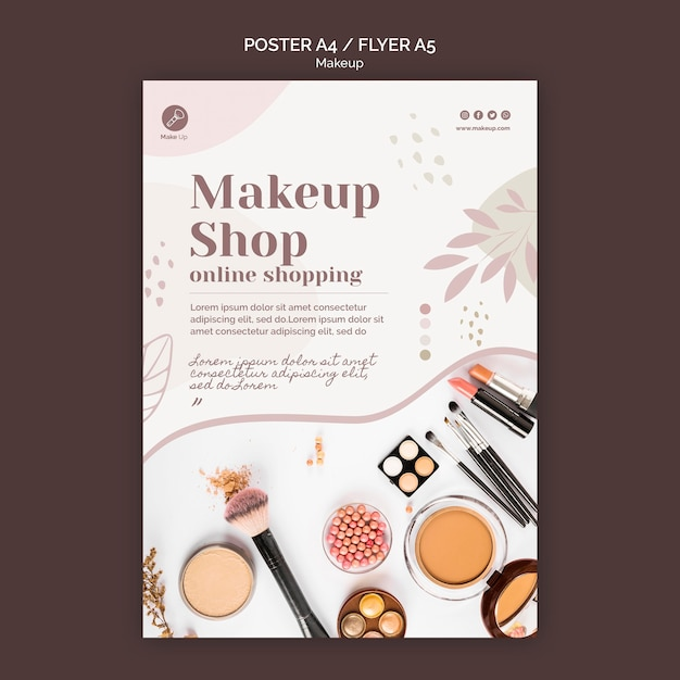 Make-up concept flyer template Free Psd