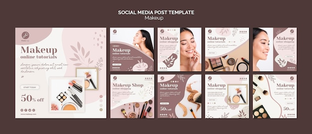 Make-up concept social media post template Free Psd