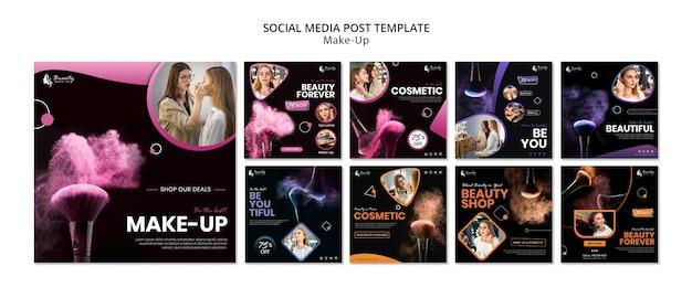 Make-up concept social media post Premium Psd