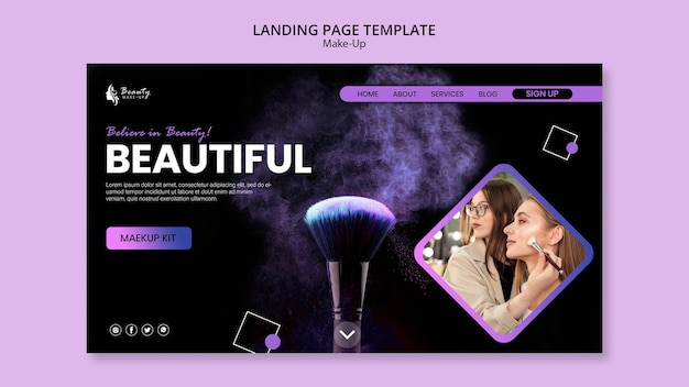 Make-up concept web template Free Psd