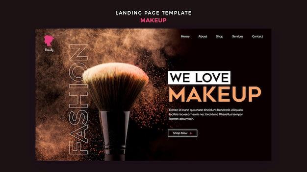 Make up landing page design Free Psd