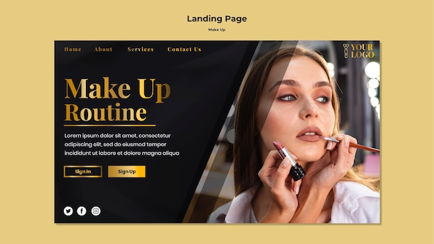 Make up landing page Free Psd