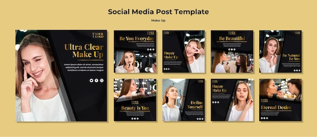 Make up social media post Free Psd