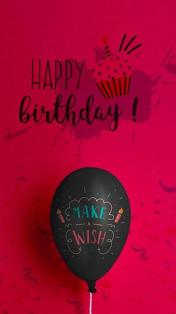 Make a wish balloon and happy birthday Free Psd