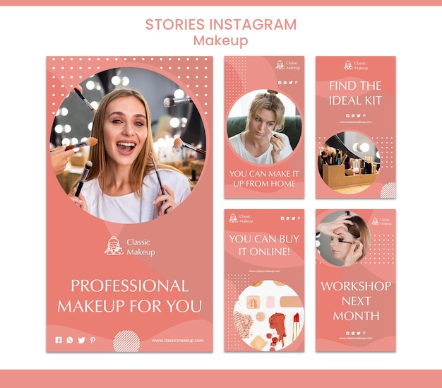 Makeup concept instagram stories template Free Psd