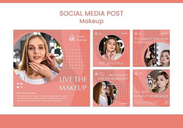 Makeup concept soicial media post template Free Psd