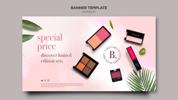 Makeup horizontal banner template style Free Psd
