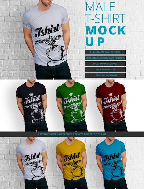 Male t-shirt mock up design Free Psd