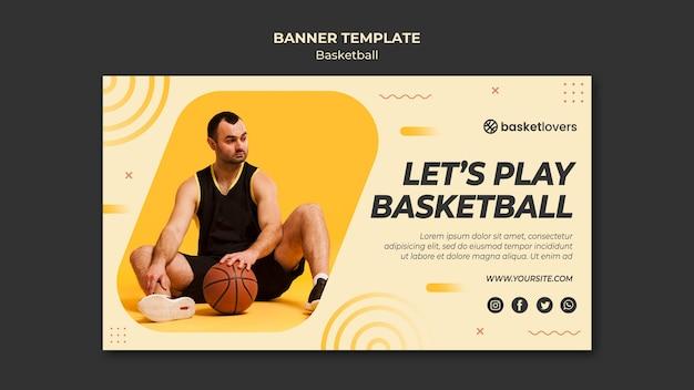 Человек и баскетбол баннер веб-шаблон Бесплатные Psd